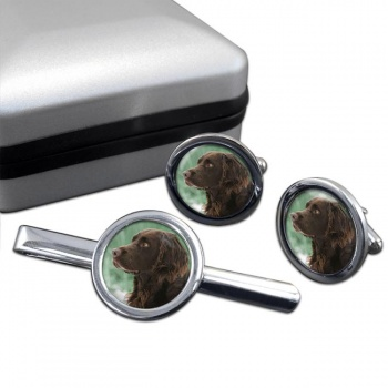 Deutscher Wachtelhund  Cufflink and Tie Clip Set