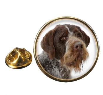 German Wirehaired Pointer Round Pin Badge