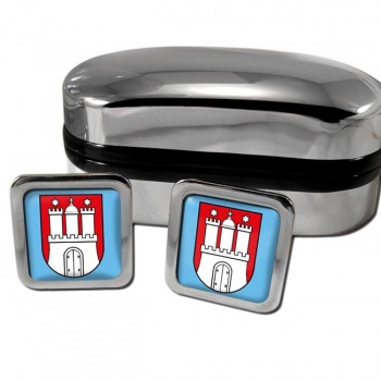 Hamburg Germany Square Cufflinks