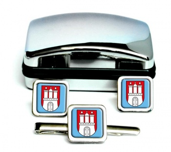 Hamburg (Germany) Square Cufflink and Tie Clip Set
