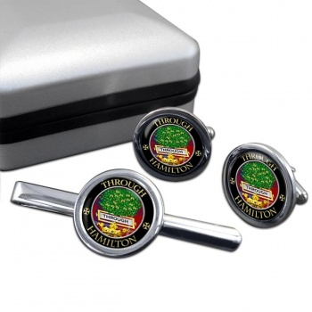 Hamilton Scottish Clan Round Cufflink and Tie Clip Set