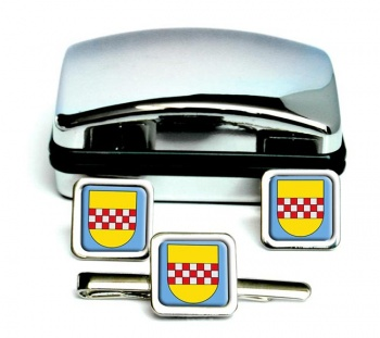 Hamm (Germany) Square Cufflink and Tie Clip Set
