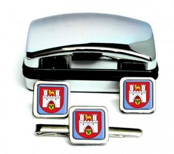 Hannover (Germany) Square Cufflink and Tie Clip Set