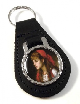 A Russian Beauty by Alexei Harlamoff Leather Keyfob