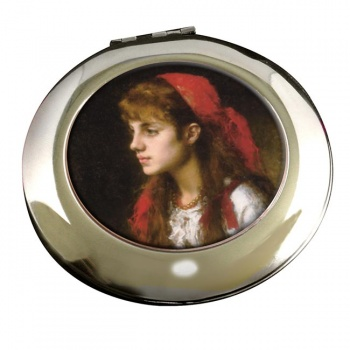 A Russian Beauty by Alexei Harlamoff Round Mirror