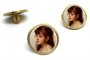 A Little Russian Girl by Alexei Harlamoff Golf Ball Marker Set