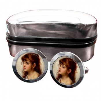 A Little Russian Girl by Alexei Harlamoff Round Cufflinks