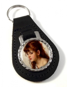 A Little Russian Girl by Alexei Harlamoff Leather Keyfob