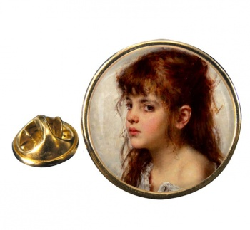 A Little Russian Girl by Alexei Harlamoff Pin Badge