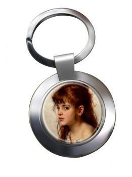 A Little Russian Girl by Alexei Harlamoff Chrome Key Ring