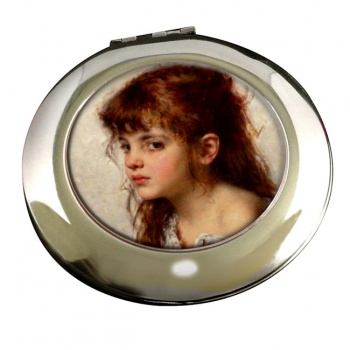 A Little Russian Girl by Alexei Harlamoff Round Mirror
