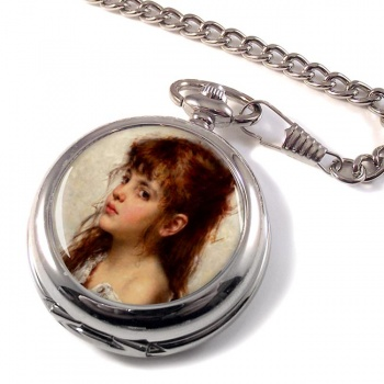 A Little Russian Girl by Alexei Harlamoff Pocket Watch