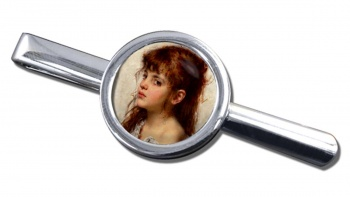 A Little Russian Girl by Alexei Harlamoff Round Tie Clip
