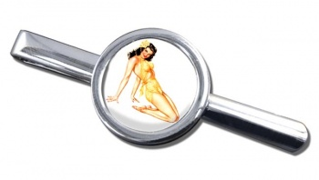 Hawaiian Pin-up Girl Round Tie Clip