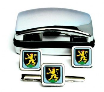 Heidelberg (Germany) Square Cufflink and Tie Clip Set