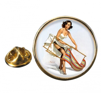 Help Needed Pin-up Girl Round Pin Badge