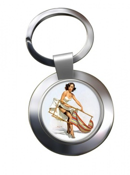 Help Needed Pin-up Girl Chrome Key Ring