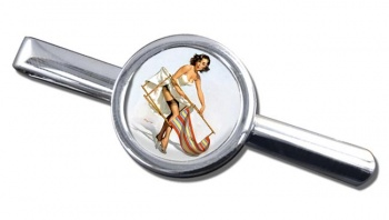 Help Needed Pin-up Girl Round Tie Clip