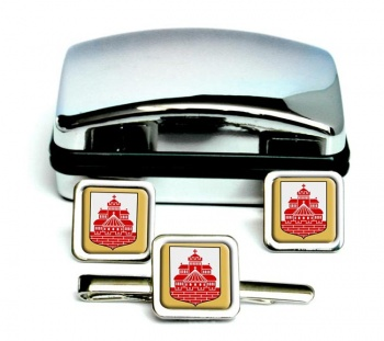 Helsingborg (Sweden) Square Cufflink and Tie Clip Set