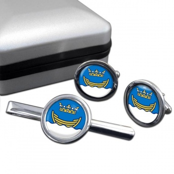 Helsinki Round Cufflink and Tie Clip Set