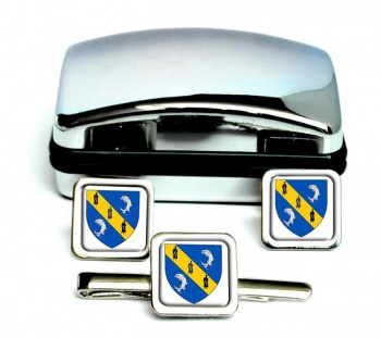 Herm Square Cufflink and Tie Clip Set