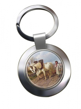 Horse Drawn Harrow by Herring Metal Key Ring