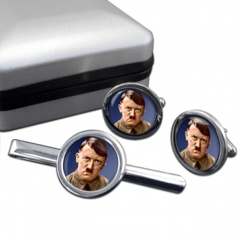 Adolf Hitler Round Cufflink and Tie Clip Set