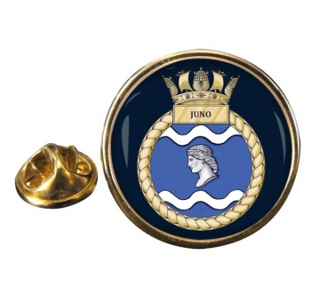 HMS Juno Round Pin Badge