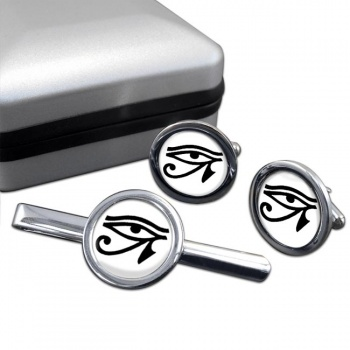 Eye of Horus Round Cufflink and Tie Clip Sert