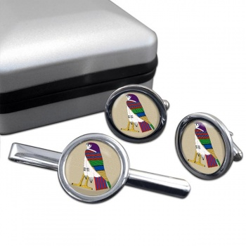 Horus God of the Sky Round Cufflink and Tie Clip Sert