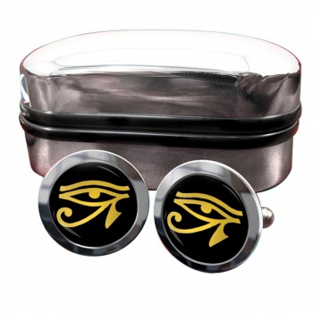Eye of Horus Gold Round Cufflinks