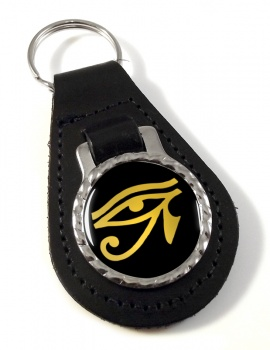 Eye of Horus Gold Leather Key Fob