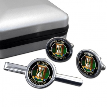 Houston Scottish Clan Round Cufflink and Tie Clip Set