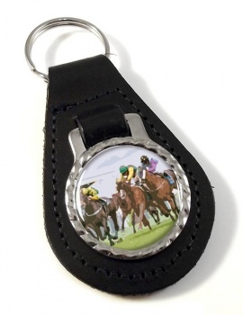 Horse Racing Leather Key Fob