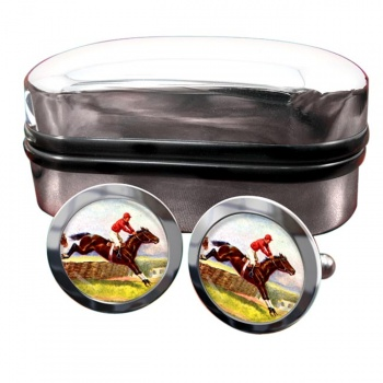Horse Racing over Hurdles Round Cufflinks