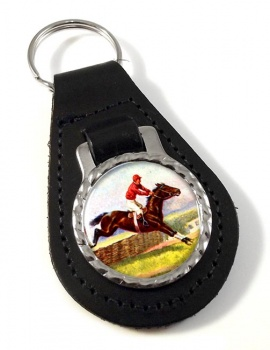 Horse Racing over Hurdles Leather Key Fob