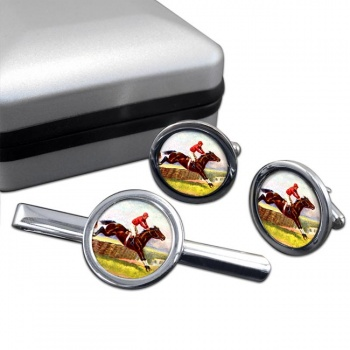 Horse Racing over Hurdles Round Cufflink and Tie Clip Set