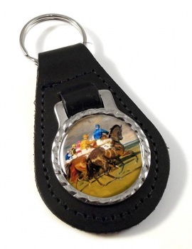Horse Racing The Start Leather Key Fob
