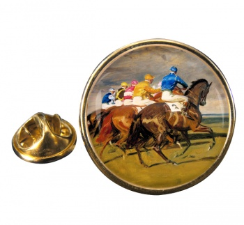 Horse Racing The Start Round Pin Badge