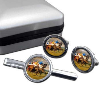 Horse Racing The Start Round Cufflink and Tie Clip Set