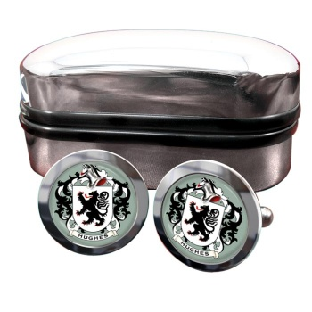 Hughes Coat of Arms Round Cufflinks