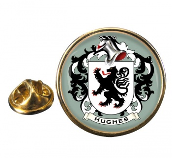 Hughes Coat of Arms Round Pin Badge