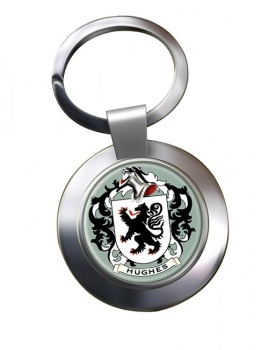 Hughes Coat of Arms Chrome Key Ring