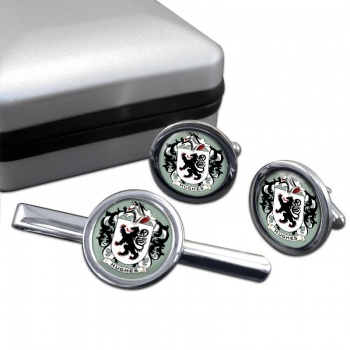 Hughes Coat of Arms Round Cufflink and Tie Clip Set