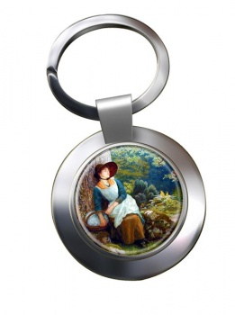 Asleep in the Woods by Arthur Hughes Chrome Key Ring