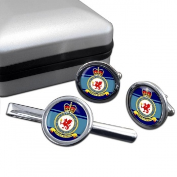 Hullavington Round Cufflink and Tie Clip Set
