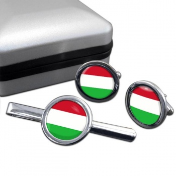 Hungary Round Cufflink and Tie Clip Set