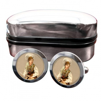 A Hungarian Woman Round Cufflinks