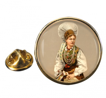 A Hungarian Woman Round Pin Badge