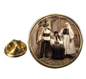 Hungarian National Costume Round Pin Badge